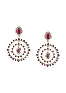 Marchesa double-hoop drop crystal earrings