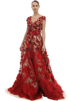 Marchesa Embellished Tulle & Silk Organza Dress