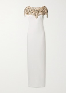 Marchesa Embellished Tulle-trimmed Crepe Gown