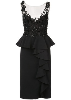 Marchesa embroidered and frill detailed dress