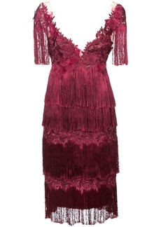 Marchesa embroidered and fringed dress