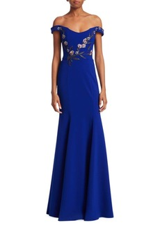 Marchesa Embroidered Beaded Appliqué Off-The-Shoulder Gown