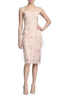 Marchesa Embroidered Corset Sheath Dress