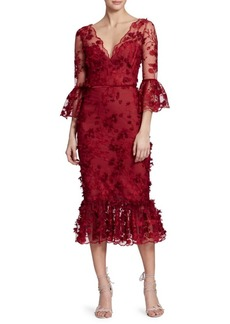 Marchesa Embroidered Floral Lace Mermaid Midi Dress