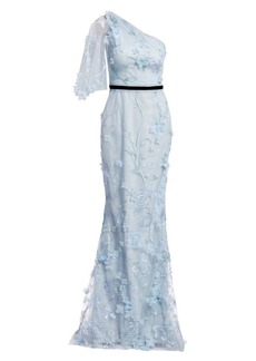 Marchesa Embroidered Floral One-Shoulder Trumpet Gown