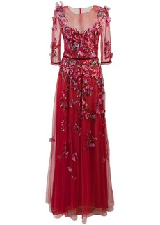 Marchesa embroidered floral tulle gown