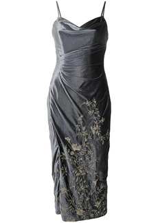 Marchesa embroidered-floral velvet dress