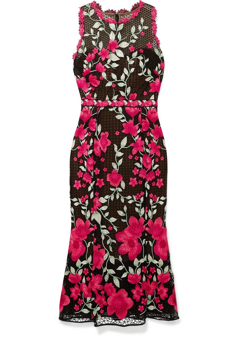 Marchesa Embroidered Guipure Lace And Tulle Midi Dress