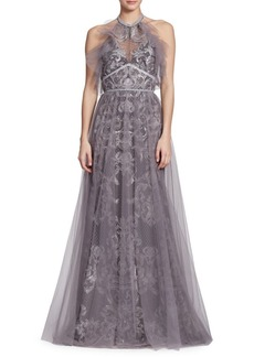 Marchesa Embroidered Halter Tulle Gown