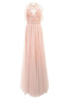 Marchesa embroidered halterneck top dress