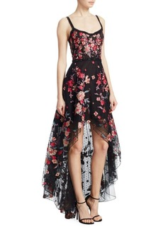 Marchesa Embroidered High-Low Sleeveless A-Line Dress