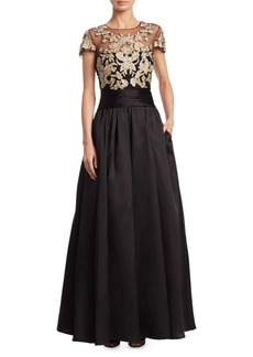 Marchesa Embroidered Lace Ballgown