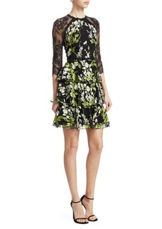 Marchesa Embroidered Lace Tulle Dress