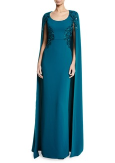 Marchesa Embroidered Scoop-Neck Cape Gown