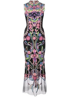 Marchesa embroidered shift maxi dress