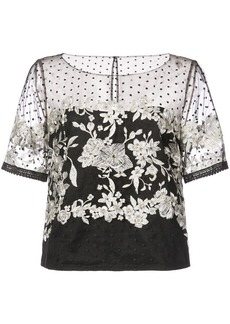 Marchesa embroidered tulle blouse