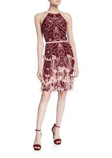 Marchesa Feather & 3D Flower Halter Dress