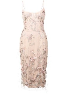 Marchesa feather embroidered sleeveless dress