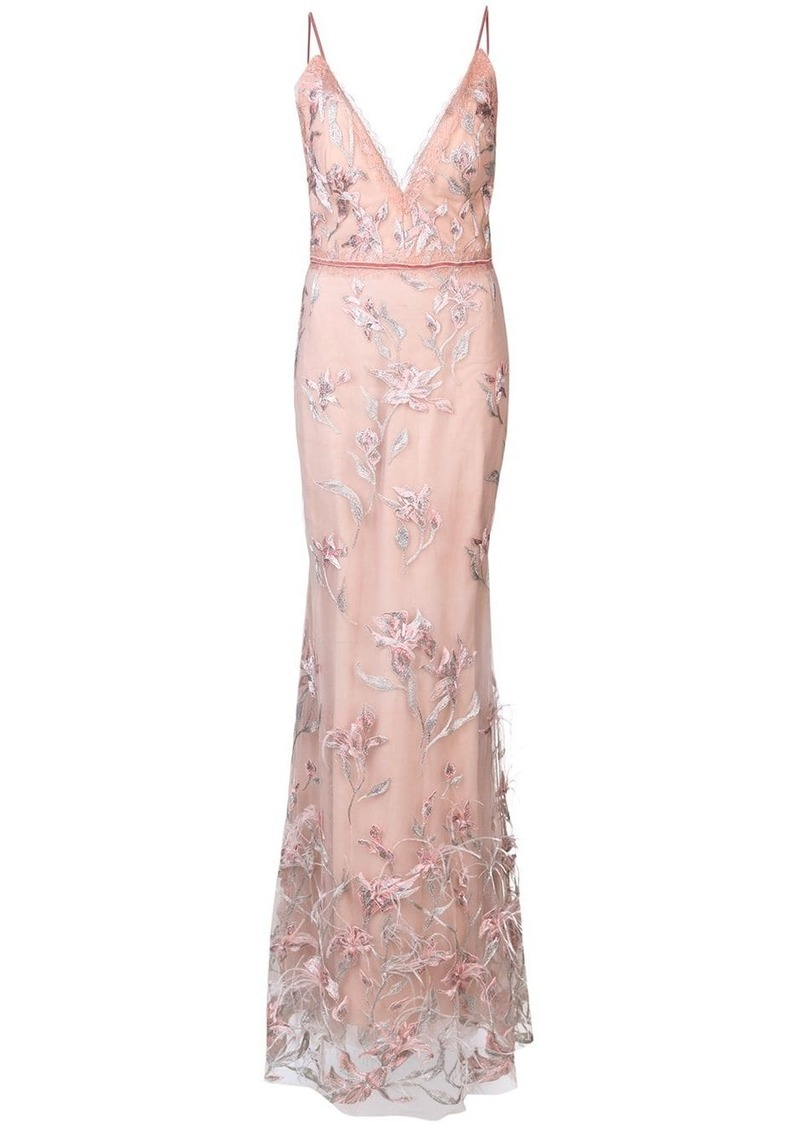 Marchesa feather embroidered sleeveless gown