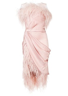 Marchesa feather-trimmed framed mini dress