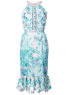 Marchesa fitted lace flower dress