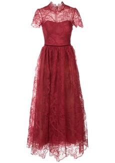 Marchesa flared lace-embroidered dress