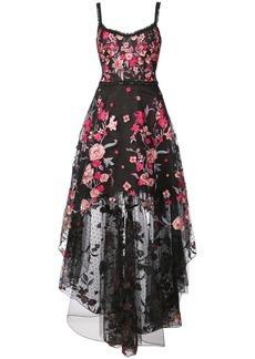 Marchesa floral appliqué high low gown