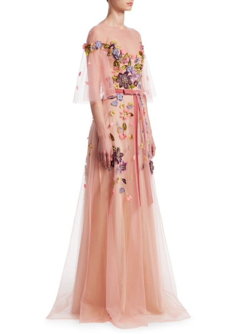 Marchesa Floral Belted Gown