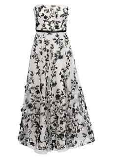 Marchesa Floral-Embellished Fit-&-Flare Gown