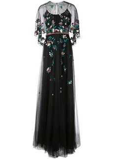 Marchesa floral-embroidered cape gown