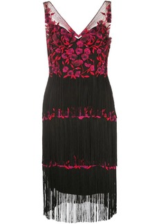 Marchesa floral embroidered fringed dress