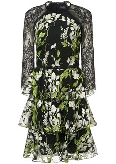 Marchesa floral-embroidered lace dress