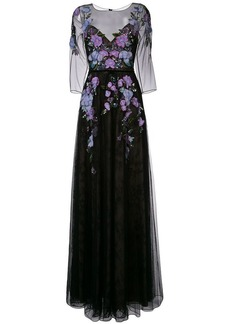 Marchesa floral-embroidered lace gown