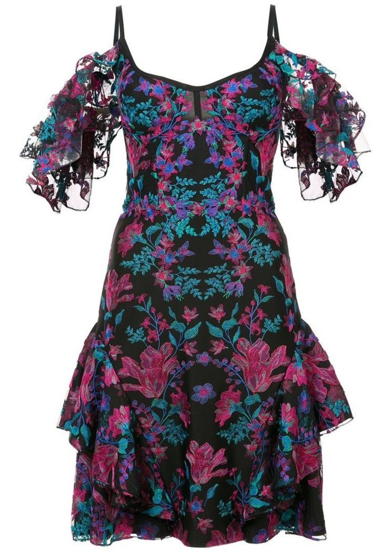 Marchesa floral embroidered mini dress