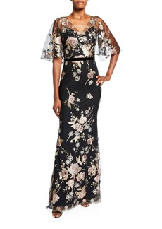 Marchesa Floral Embroidered V-Neck Cape-Sleeve Column Gown