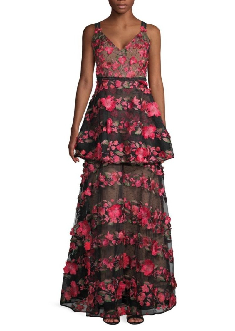 Marchesa Floral-Embroidered V-Neck Gown