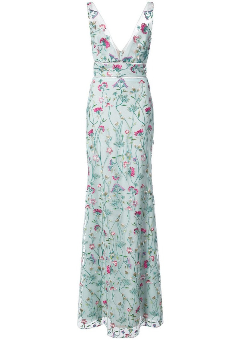 Marchesa floral fitted maxi dress