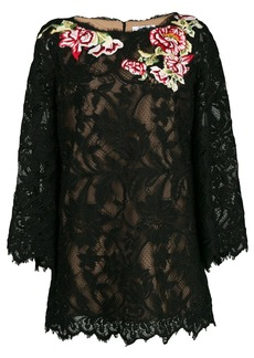 Marchesa floral lace embroidered blouse