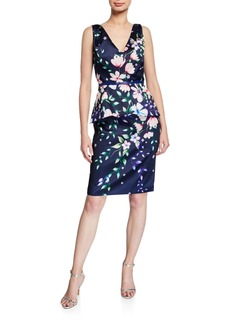 Marchesa Floral Mikado V-Neck Sleeveless Peplum Dress
