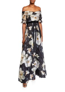 Marchesa Floral Off-the-Shoulder Fil Coupe A-Line Gown