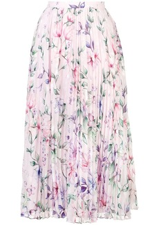 Marchesa floral pattern pleated skirt
