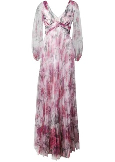 Marchesa floral pleated evening dress