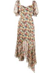 Marchesa floral-print asymmetric-hem dress