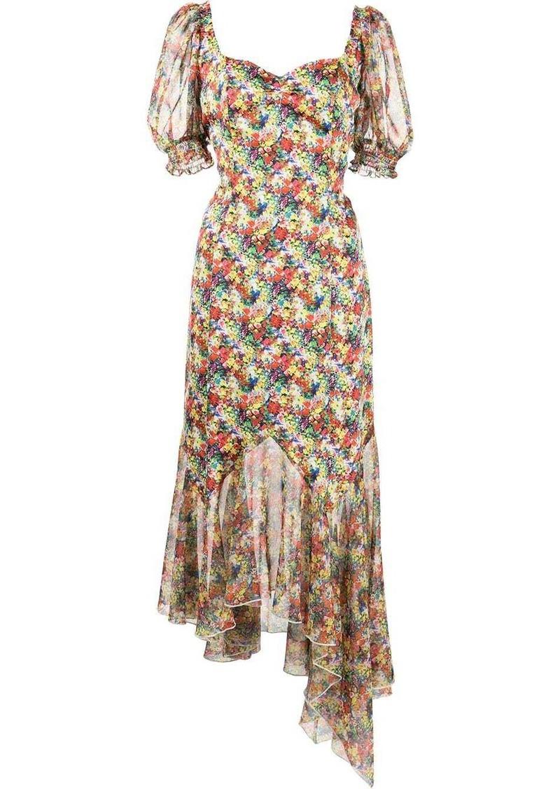 floral-print asymmetric-hem dress