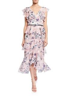 Marchesa Floral-Print Burnout Chiffon V-Neck Flutter-Sleeve Ruffle Dress