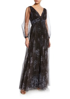 Marchesa Floral-Print Pleated V-Neck Bishop-Sleeve Tulle Gown