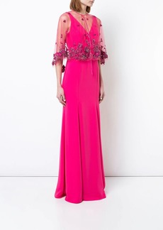 Marchesa floral shawl evening dress