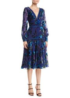 Marchesa Floral Velvet Burnout Bishop-Sleeve Dress