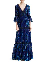 Marchesa Floral Velvet Burnout Gown
