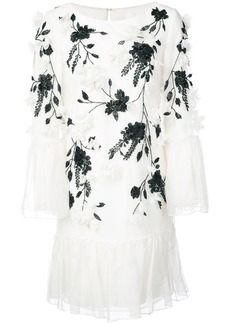Marchesa flower embellished ruffle dress